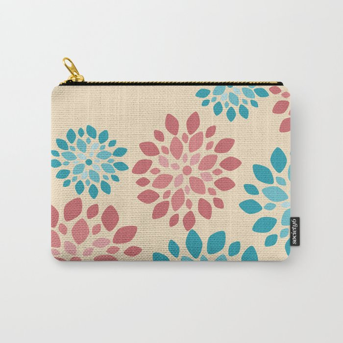 Flower Flurries Beige Carry-All Pouch