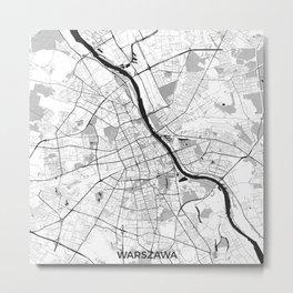 Warsaw Map Gray Metal Print
