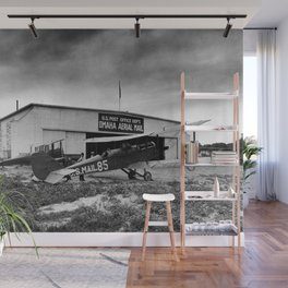 Omaha airfield airplain hangar america 1940s usa transportation Wall Mural