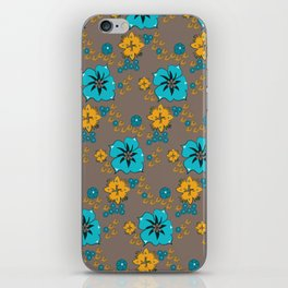 Funky Yellow & Blue Flowers iPhone Skin