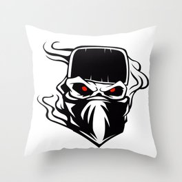 Skull bandana hat Outlaw Throw Pillow