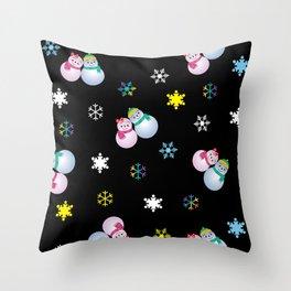 Snowflakes & Pair Snowman_E Throw Pillow