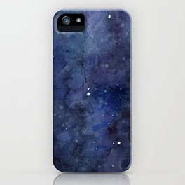 Galaxy Nebula Watercolor Night Sky Stars Outer Space Blue Texture iPhone Case