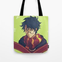 viria Tote Bags featuring the boy who lived by viria