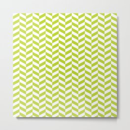 Lime Green Herringbone Pattern Metal Print