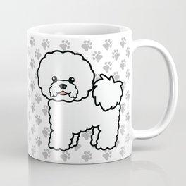 Cute White Bichon Frise Dog Cartoon Illustration Coffee Mug