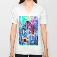 women V-neck T-shirts featuring Women by Ganech joe