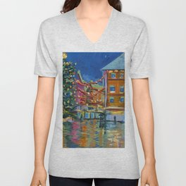 Night lights Amsterdam cityscape, Dutch landscape, oil painting Unisex V-Neck