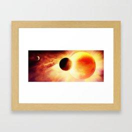 Flaming orbit Framed Art Print