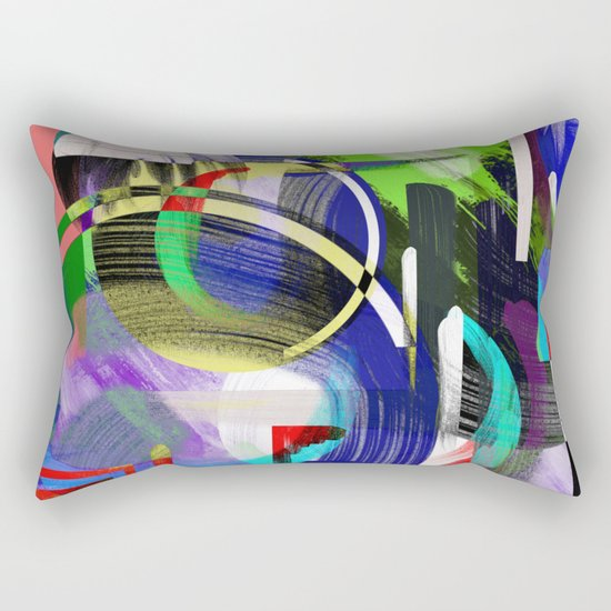 Try To Make Sense Of It All - Random, geometric, eclectic, abstract, colourful art Rectangular Pillow