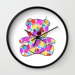 "Colorful Rainbow Flag Gay Pride T-shirt Design ""Teddy Beat"" Rainbow Flag Animals Animal Pet Colors Wall Clock"
