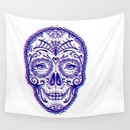 Sugar Skull (Calavera) Chromatic Aberration - Cyan Magenta Wall Tapestry