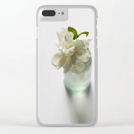 White Gardenia in Aqua Blue Vase Clear iPhone Case