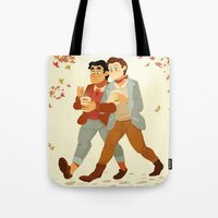 klaine Tote Bags featuring Fall Klaine by CRAZiE-CRiSSiE