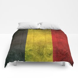 Old and Worn Distressed Vintage Flag of Belgium Comforters