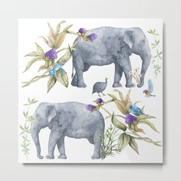 Elephants On Parade Illustration - Bagaceous Metal Print