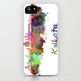 Kolkata skyline in watercolor iPhone Case