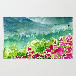 Pink Spring Flower Mountain Meadow Rug