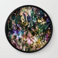 vintage flowers Wall Clocks featuring Vintage Flowers by Vitta