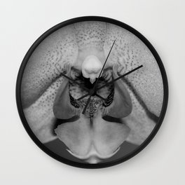 orchid close up b&w Wall Clock