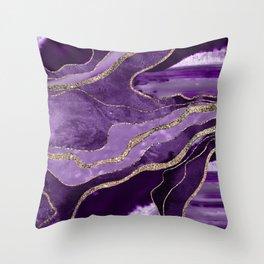 Purple Marble Agate Gold Glitter Glam #1 (Faux Glitter) #decor #art #society6 Throw Pillow