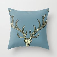antlers Throw Pillows featuring Antlers by Rachel Russell