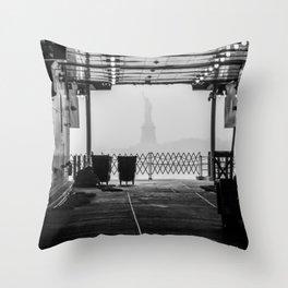 Liberty Through The Boat Throw Pillow