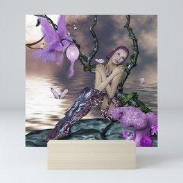 Wonderful fairy with fantasy bird Mini Art Print