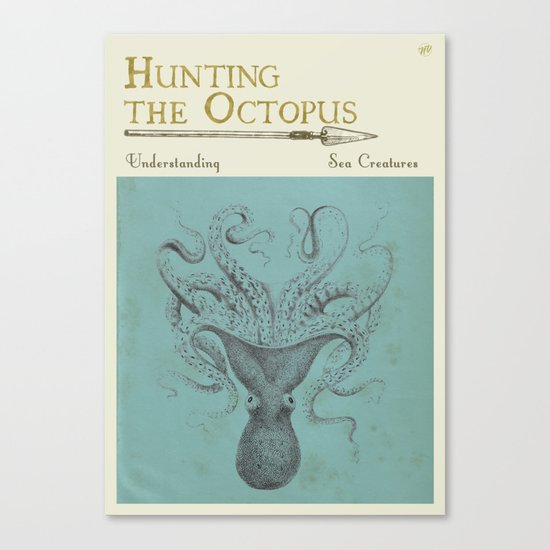 Book Cover Design Near Me ~ Hunting the octopus book cover canvas print by new void