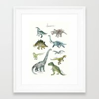 dinosaurs Framed Art Prints featuring Dinosaurs by Amy Hamilton