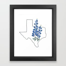 texas // watercolor bluebonnet state flower map Framed Art Print