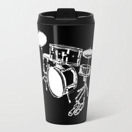Drum Kit Rock Black White Travel Mug