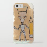 novelty iPhone & iPod Cases featuring Lil' Dorkbot and the Novelty Pencil by Taylor Winder
