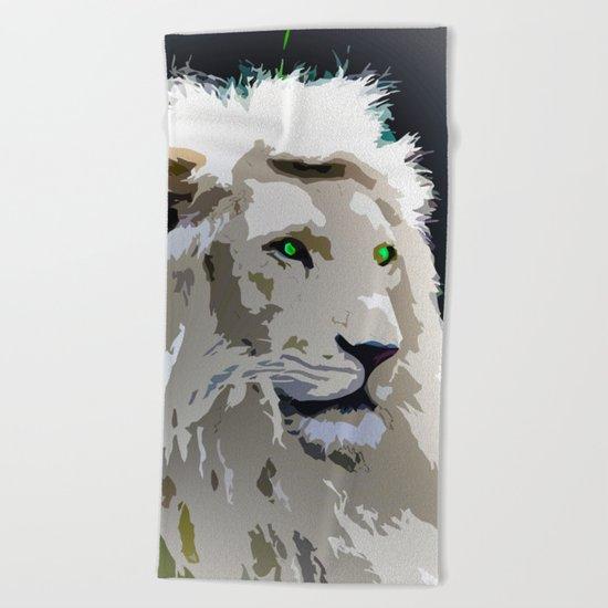 White Lion Beach Towel