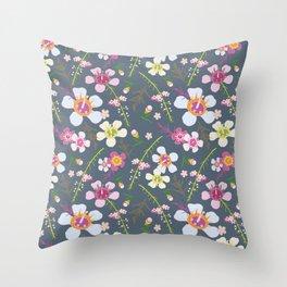 Tiara Flower Blue Throw Pillow
