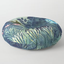 The Equatorial Jungle with Lions by Henry Rousseau Floor Pillow