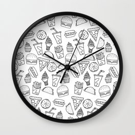 Fast Food Monoline Doodles Wall Clock