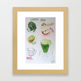 Green Juice Recipe Framed Art Print