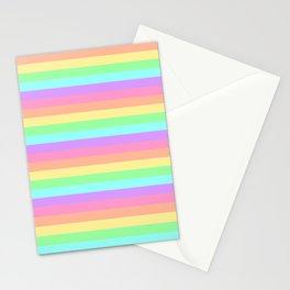 Pastel Rainbow Stripes Stationery Cards