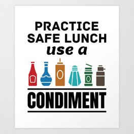 Lunch Lady Cafeteria Worker Practice Safe Lunch Use a Condiment Art Print