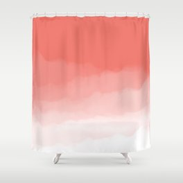Living Coral Watercolor Ombre (Pantone Living Coral) Shower Curtain
