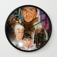 blade runner Wall Clocks featuring Blade runner by calibos