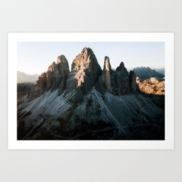 Tre Cime in the Dolomites Mountains at dusk - Landscape Photography Art Print