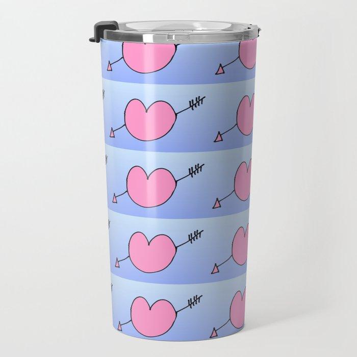 heart and arrow -love,romantism,romantic,cute,beauty,tender, tenderness, coup de foudre. Travel Mug