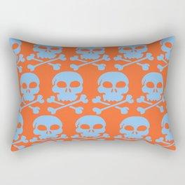 Skull Crazy- Lt Blue on Orange Rectangular Pillow