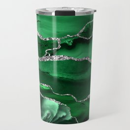 Glamour Emerald Bohemian Watercolor Marble With Silver Glitter Veins Travel Mug