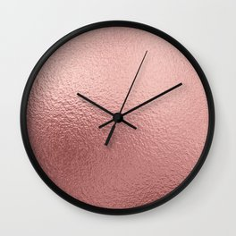 Rose quartz- pink metal foil background Wall Clock