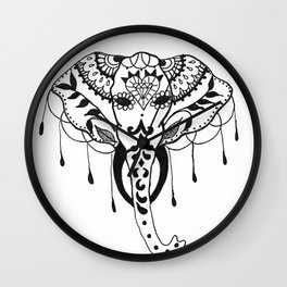 Mehndi Design Elephant by Ganesh Wall Clock