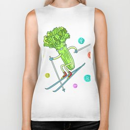 Skiing Celery Biker Tank