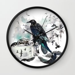 Blackwinged Birds Fly Past The Moonlit Raven's Eye Wall Clock